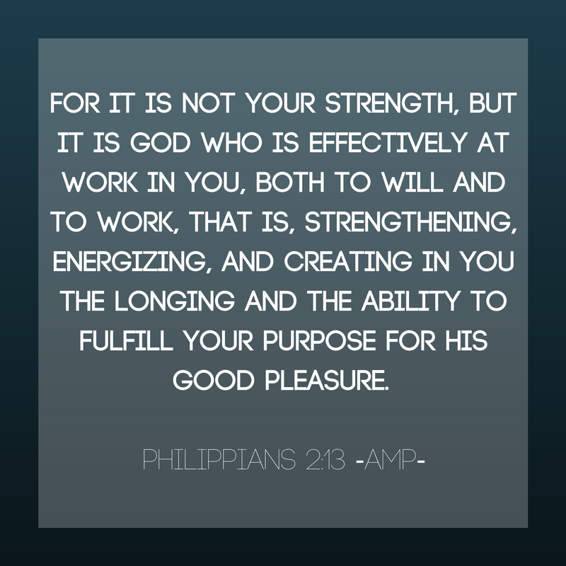 For it is [not your strength, but it is] [a]God who is effectively at work in you, both to will and to work [that is, strengthening, energizing, and creating in you the longing and the a